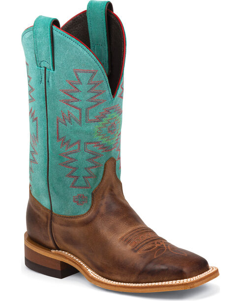 Justin Bent Rail Teal Cowhide Cowgirl Boots - Square Toe, Rust, hi-res