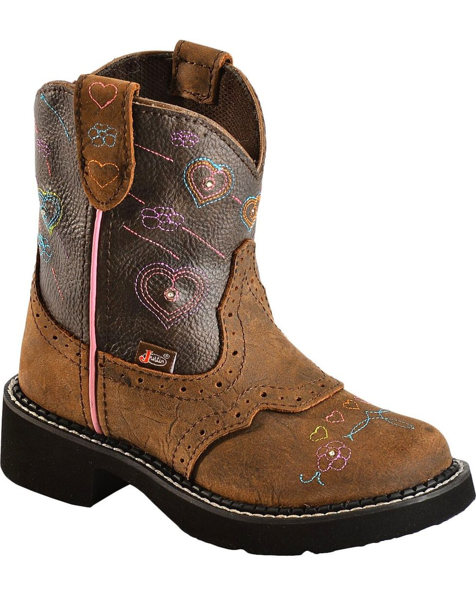 Justin Children's Gypsy Light Up Heart Embroidered Cowgirl Boots - Round Toe, Brown, hi-res