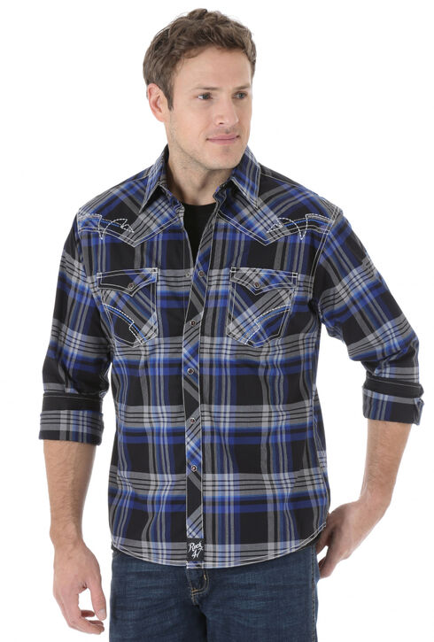 Wrangler Rock 47 Men's Blue & Black Plaid Snap Shirt, Blue, hi-res