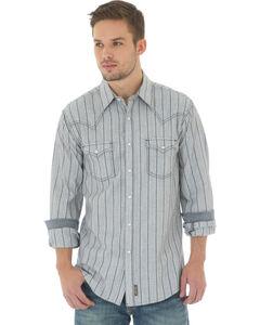 Wrangler Men's Natural Retro Stripe Long Sleeve Shirt , Natural, hi-res