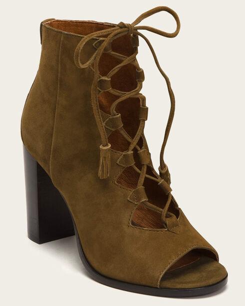 Frye Women's Beige Gabby Ghillie Booties - Round Toe , Beige/khaki, hi-res