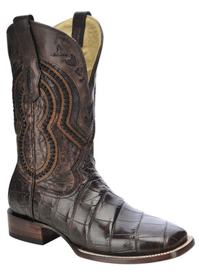 Corral Alligator Cowboy Boots - Wide Square Toe, Chocolate, hi-res