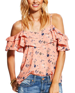 Ariat Women's Blush Vanessa Floral Cold Shoulder Top, Blush, hi-res