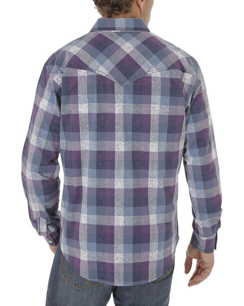 Wrangler Men's Navy Retro Long Sleeve Plaid Shirt , Navy, hi-res