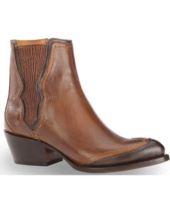 Lucchese Women's Tan Gia Chelsea Short Boots - Round Toe , Tan, hi-res