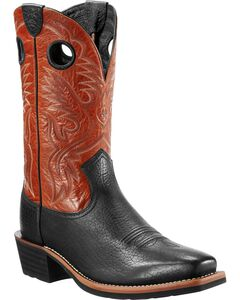 Ariat Heritage Rough Stock Black Boots - Wide Square Toe, , hi-res