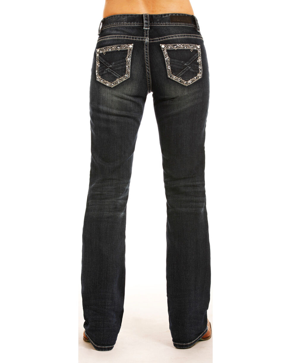 Rock & Roll Cowgirl Women's Dark Wash Riding Jeans - Boot Cut , Indigo, hi-res