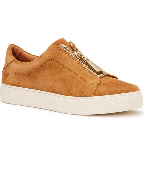 Frye Women's Tan Lena Zip Low Shoes - Round Toe, Tan, hi-res