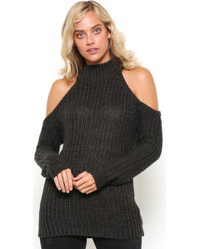 Illa Illa Women's Charcoal Cold Shoulder Shoulder , Charcoal, hi-res