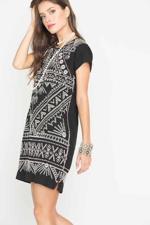 Johnny Was Women's Black Colette Peasant Tunic , Black, hi-res