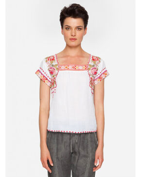 Johnny Was Women's Sylvie Mexican Top , White, hi-res