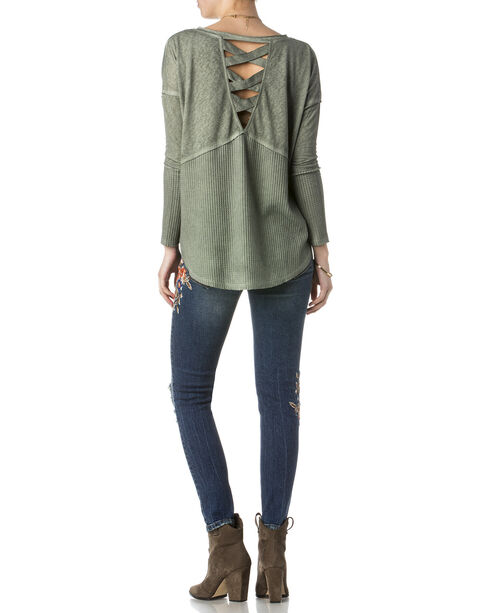 Miss Me Women's Green Lace Up Back Top , Green, hi-res