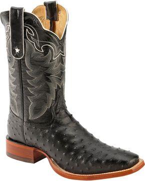 Tony Lama San Saba Black Full Quill Ostrich Cowboy Boots - Square Toe, Black, hi-res
