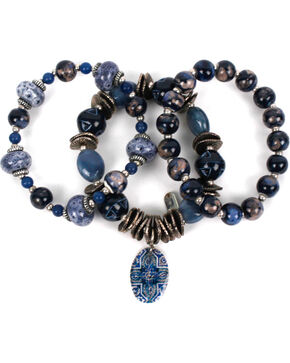 Treska Women's Three Strand Beaded Bracelet, Blue, hi-res