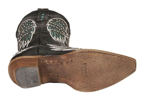 Corral Turquoise Wing Inlay & Cross Embroidery Cowgirl Boots - Snip Toe, Black, hi-res