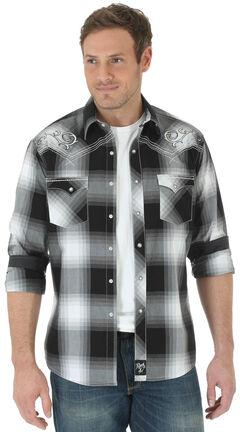 Wrangler Rock 47 Men's Black Embroidered Yoke Long Sleeve Plaid Shirt , , hi-res