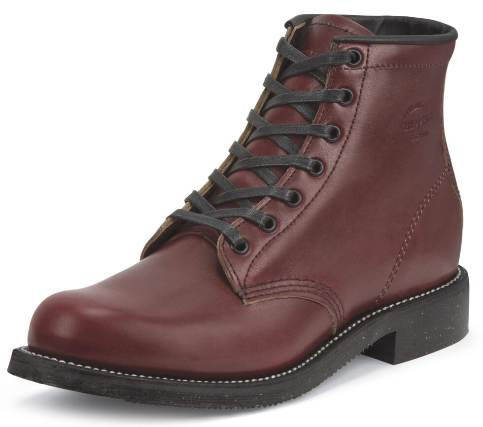 """Chippewa Men's Limited Edition 6"""" Lace-Up Oxblood Service Boots - Round Toe, Mahogany, hi-res"""