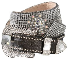 Blazin Roxx Crystal Concho Belt, Brown, hi-res