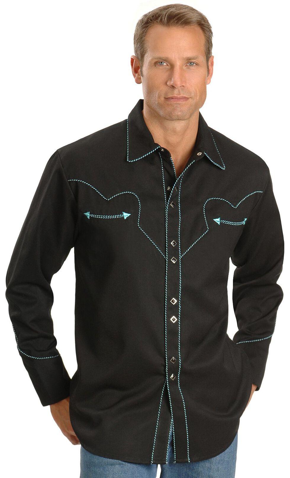 Scully Black Vintage Western Shirt - Big, Black, hi-res