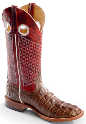 Horse Power Men's Caiman Tail Print Western Boots - Square Toe, Chocolate, hi-res
