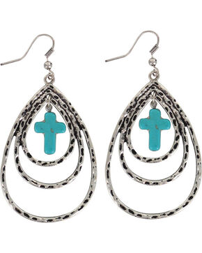 Shyanne Women's Layered Cross Teardrop Earrings, Silver, hi-res