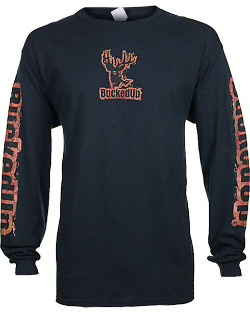BuckedUp Men's Mud Logo Long Sleeve T-Shirt - Big, Black, hi-res