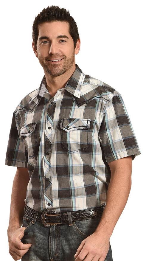 Moonshine Spirit Men's Black Plaid Short Sleeve Western Shirt, Multi, hi-res