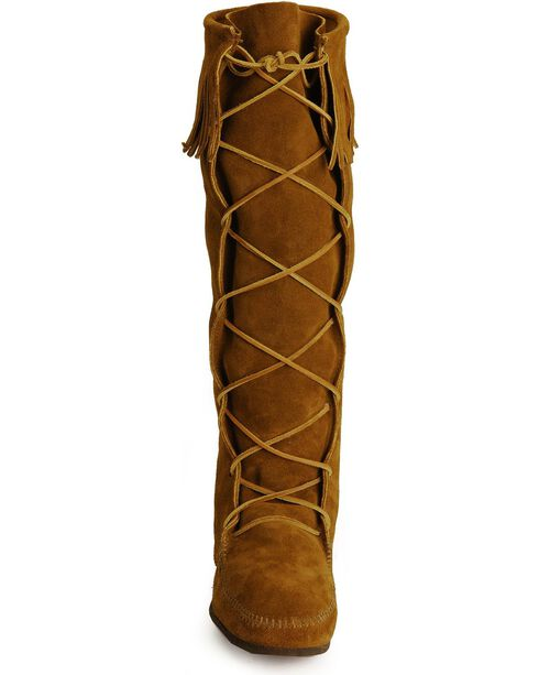 Minnetonka Lace-Up Suede Leather Knee High Boots, Brown, hi-res