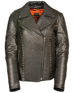 Milwaukee Leather Women's Classic Studded Motorcycle Jacket - 3X, Black, hi-res