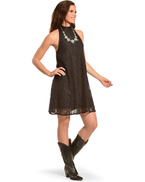 Young Essence Women's Sleeveless High Neck Lace Dress, Black, hi-res