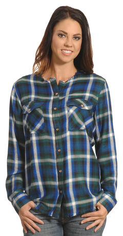 New Direction Women's Frayed Edge Blue Plaid Shirt , Blue, hi-res