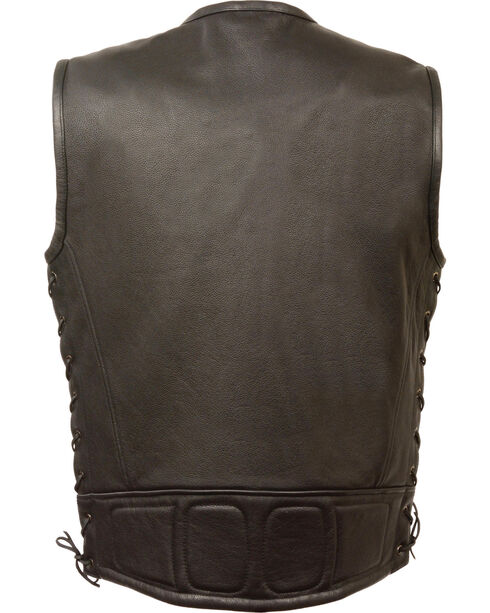 Milwaukee Leather Men's Zipper Front Full Side Lace Leather Vest - 3X, Black, hi-res