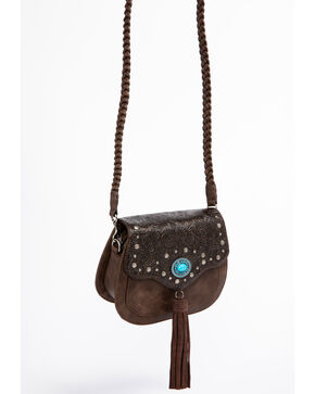Shyanne Women's Katrina Tassel Turquoise Concho Crossbody Bag, Dark Brown, hi-res