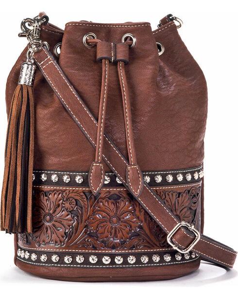 Blazin Roxx Women's Brown Embossed Bucket Bag , Brown, hi-res