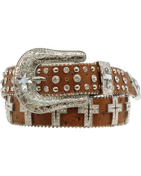 Blazin Roxx Clear Cross Concho Belt, Brown, hi-res
