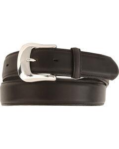 Tony Lama Longhorn Leather Dress Belt - Reg & Big, Black, hi-res