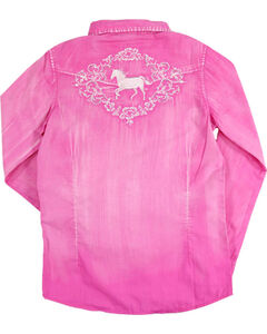 Shyanne Girls' Solid Washed Horse Embroidered Long Sleeve Shirt, Multi, hi-res
