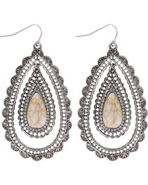 Shyanne Women's Scallop Teardrop Earrings , Silver, hi-res