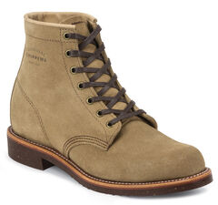 "Chippewa Men's 6"" Lace-Up Khaki Suede Service Boots - Round Toe, Khaki, hi-res"