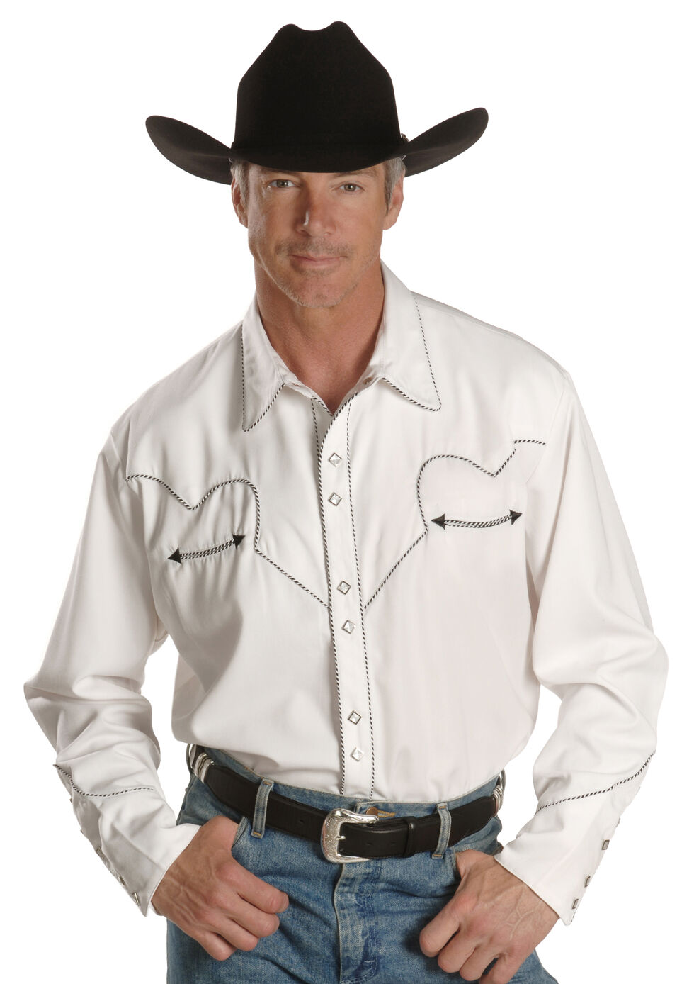 Scully White Retro Western Shirt - Big, White, hi-res