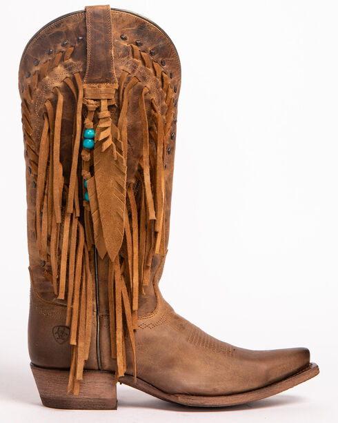 Ariat Women's Brown Dusted Wheat Fringe Cowgirl Boots - Snip Toe , Brown, hi-res