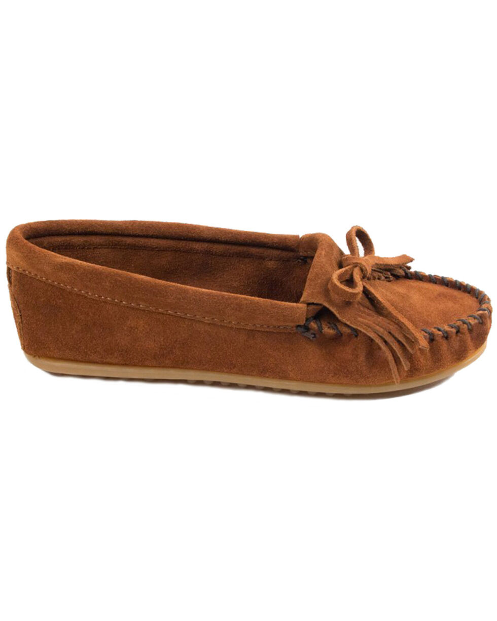 Minnetonka Women's Kilty Moccasins, Brown, hi-res