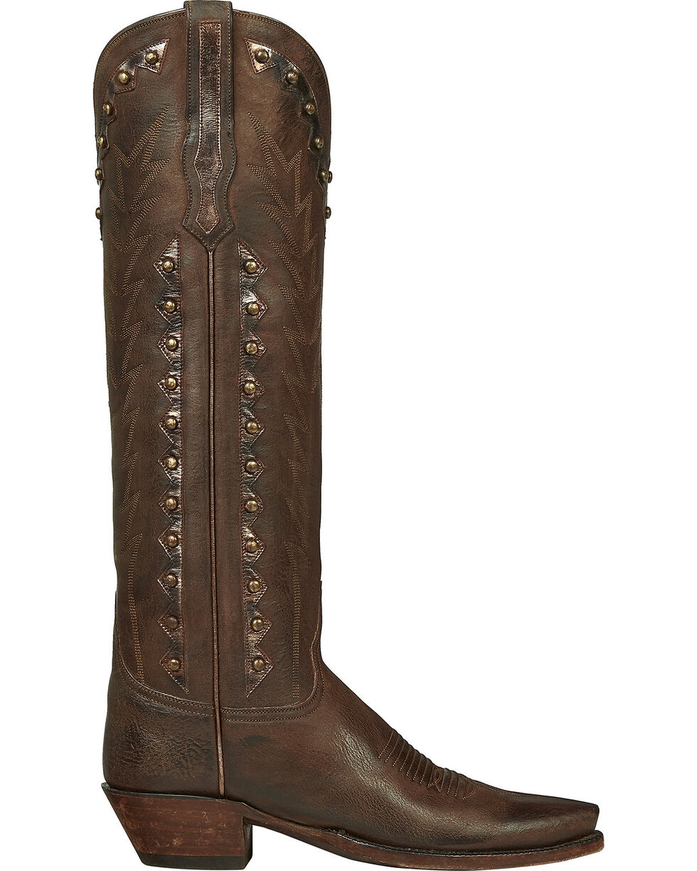 Lucchese Handmade Brown Danielle Goatskin Tall Cowgirl Boots - Pointed Toe , Dark Brown, hi-res