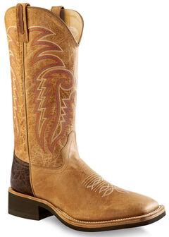 Old West Men's Tan Cowboy Boots - Square Toe , , hi-res