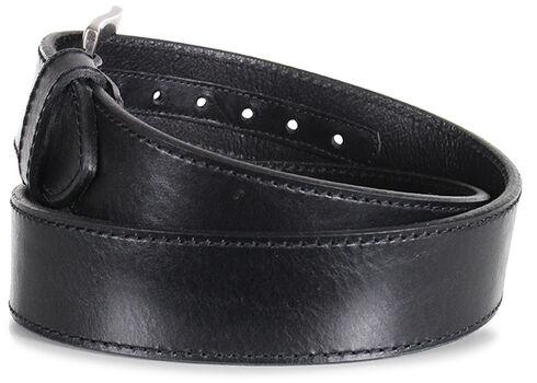 American Worker Men's Black Leather Stitch Belt, Black, hi-res