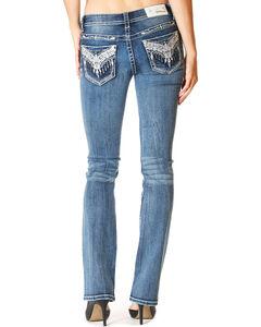 Grace in LA Women's Medium Blue Embroidered Pocket Jeans - Boot Cut , Medium Blue, hi-res