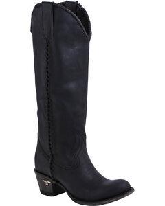 Lane Plain Jane Black Cowgirl Boots - Round Toe , , hi-res