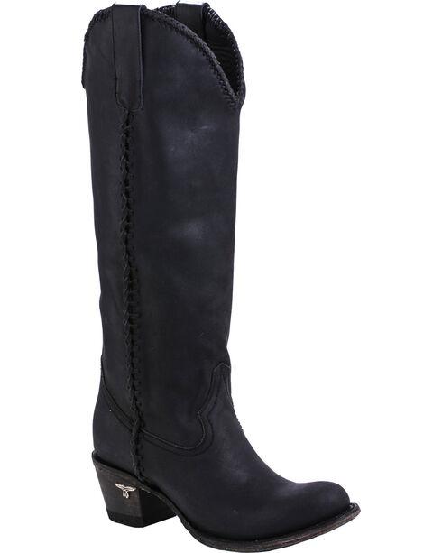Lane Plain Jane Black Cowgirl Boots - Round Toe , Black, hi-res
