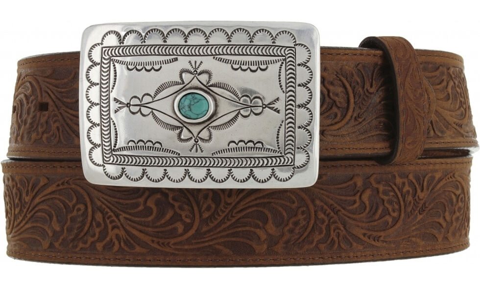 Tony Lama Navajo Spirit Embossed Leather Belt, Aged Bark, hi-res