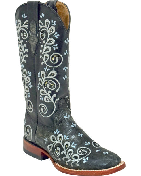Ferrini Women's Rockin' Cowgirl Boots - Square Toe , Black, hi-res
